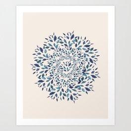 Indigo Leaves Mandala Art Print