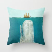 red hood Throw Pillows featuring The Whale  by Terry Fan