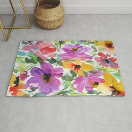 floral watercolor: purple and orange flowers Rug
