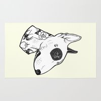 bull terrier Area & Throw Rugs featuring Bull Terrier dog Tattooed by PaperTigress