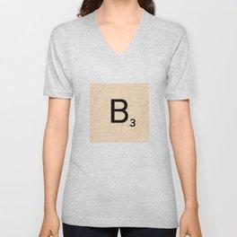 Scrabble Letter B - Large Scrabble Tiles Unisex V-Neck