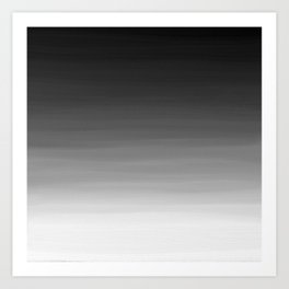 Black and White Haze Abstract Ombre Art Print