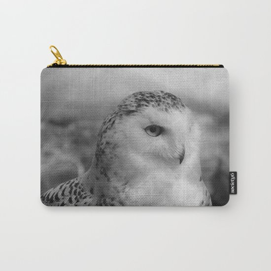 Snowy Owl - B & W Carry-All Pouch