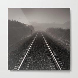 """Bird through the foggy railway"" Metal Print"