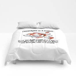 Everybody Is A Genius Quote Physicist Goldfish Comforters