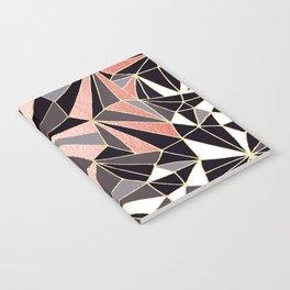 Stylish Art Deco Geometric Pattern - Black, Coral, Gold #abstract #pattern Notebook
