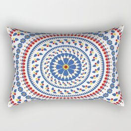 Floral Mandala Blue and Red colour Palette Rectangular Pillow