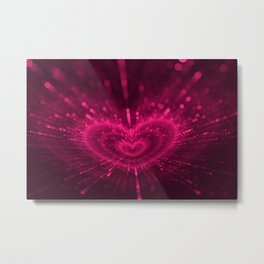 Purple Love Heart, Happy Valentine's Day Pattern Metal Print
