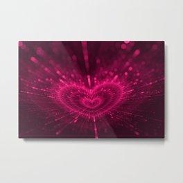 Purple Love Heart, Happy Valentine's Day Pattern Metal Print
