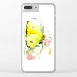 Soft Yellow Butterfly and Pink Flower, pink turquoise lemon yellow girls room art, design Clear iPhone Case