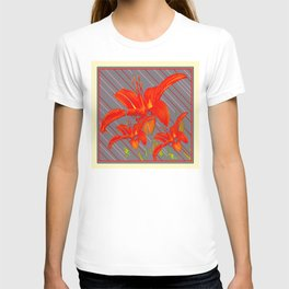 Red Abstracted Day Lilies On Grey Striped Art T-shirt
