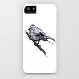 Bird Handmade Drawing, Art Sketch, Uccellino, Illustration iPhone Case