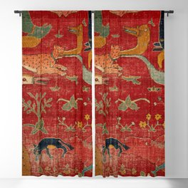 Animal Grotesques Mughal Carpet Fragment Digital Painting Blackout Curtain