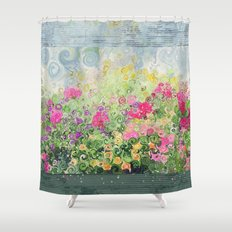 Dreamy Confetti Flower Basket Bouquet -- Whimsical Painterly Abstract Shower Curtain