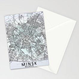 Minsk, Belarus, White, City, Map Stationery Cards