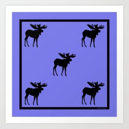 Bull Moose Silhouette on Periwinkle Art Print