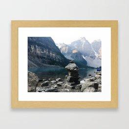 Inukshuk at Moraine Lake, Banff Framed Art Print