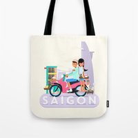 backpack Tote Bags featuring SAIGON by Adam Moroncsik