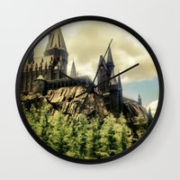 witchcraft Wall Clocks featuring Hogwarts School of Witchcraft and Wizadry  by JairovPhotolab