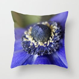 Blue Crown Anemone Throw Pillow
