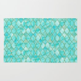 Luxury Aqua Teal and Gold oriental quatrefoil pattern Rug