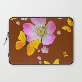 COFFEE BROWN YELLOW BUTTERFLIES & PINK WILD ROSES Laptop Sleeve