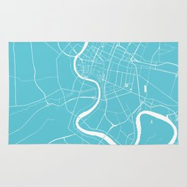 Bangkok Thailand Minimal Street Map - Turquoise and White Rug