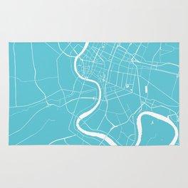 Bangkok Thailand Minimal Street Map - Turquoise and White Rug