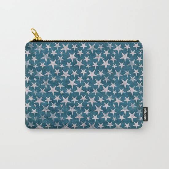 White stars on grunge textured blue background Carry-All Pouch