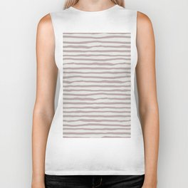Simply Shibori Stripes Clay Pink on Lunar Gray Biker Tank