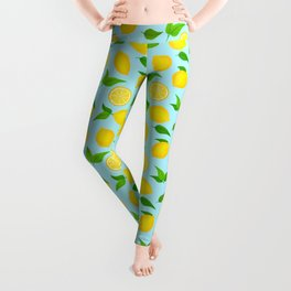 Summer Lemons Pattern - Yellow and Pastel Blue Palette Leggings