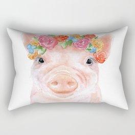 Piglet Floral Watercolor Rectangular Pillow