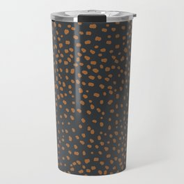 Wild animal print cheetah spots and dots copper rust charcoal gray Travel Mug