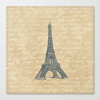eiffel tower Canvas Prints featuring Eiffel Tower by Zen and Chic
