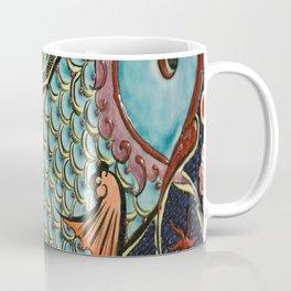 bohemian folk art orange aqua blue japanese good luck koi fish Coffee Mug
