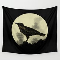 crow Wall Tapestries featuring Crow by Arts and Herbs