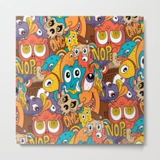 Weird Guys Pattern Metal Print