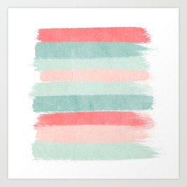 Stripes painted coral minimal mint teal bright southern charleston decor colors Art Print