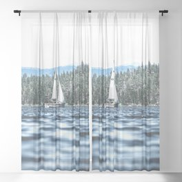 Calm Lake Sailboat Sheer Curtain