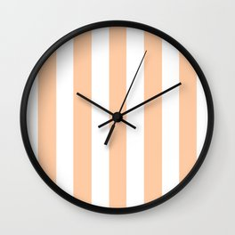 Deep peach pink - solid color - white vertical lines pattern Wall Clock