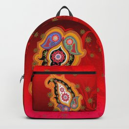 red jewel paisley border Backpack
