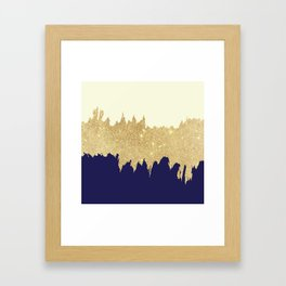 Navy blue ivory faux gold glitter brushstrokes Framed Art Print