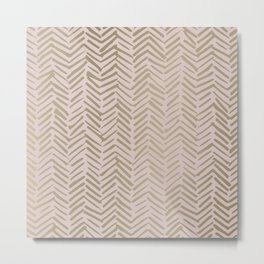 Herringbone, Boho, Mudcloth Pattern, Pink and Gold Metal Print