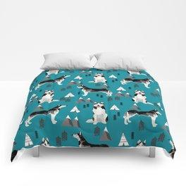 Husky siberian huskies mountains pet portrait dog dogs pet friendly dog breeds gifts Comforters