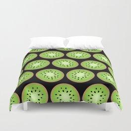 Kiwi Pattern  |  Black Background Duvet Cover