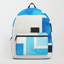 Cerulean Blue Aztec Pattern Mid-century Modern Simple Geometric Pattern Watercolor Minimalist Art Sq Backpack