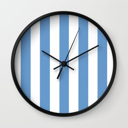 Livid turquoise - solid color - white vertical lines pattern Wall Clock