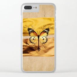 Gold and copper butterfly Clear iPhone Case
