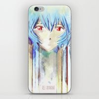 evangelion iPhone & iPod Skins featuring Rei Ayanami from Evangelion Digital Mixed Media by Barrett Biggers