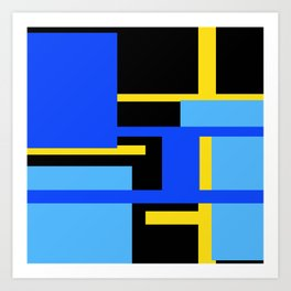 Rectangles - Blues, Yellow and Black Art Print